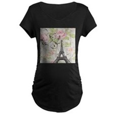 modern floral paris eiffel tower art Maternity T-S