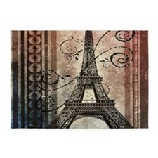modern floral paris eiffel tower art 5'x7'Area Rug