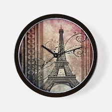 modern floral paris eiffel tower art Wall Clock