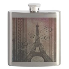 modern floral paris eiffel tower art Flask