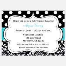Teal Black Damask Dots Invite Invitations