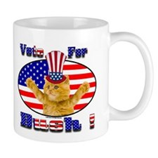 Mug    Vote For Bush oval Flag kitty