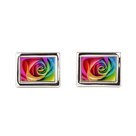 Rainbow Rose Square Rectangular Cufflinks