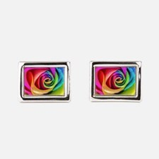 Rainbow Rose Square Rectangular Cufflinks