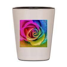 Rainbow Rose Square Shot Glass