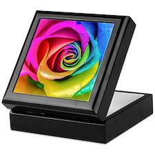 Rainbow Rose Square Keepsake Box