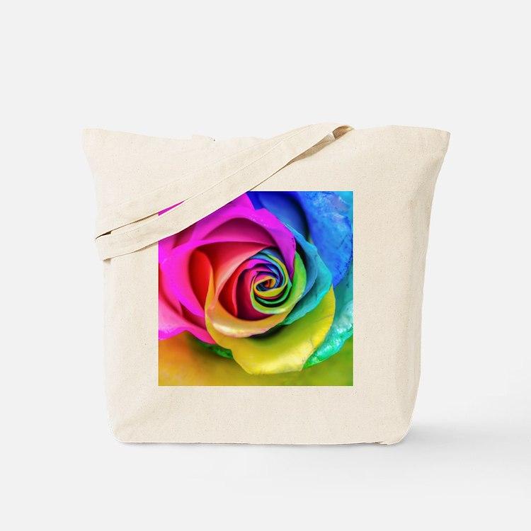 Rainbow Rose Square Tote Bag