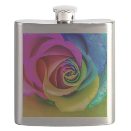 Rainbow Rose Square Flask