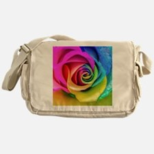 Rainbow Rose Square Messenger Bag
