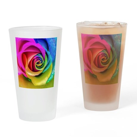 Rainbow Rose Square Drinking Glass