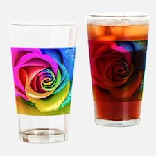Rainbow Rose Square Drinking Glass