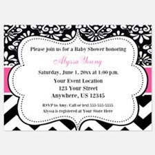 Pink Black Chevron Dots Invite Invitations
