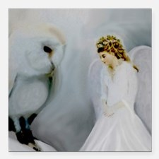 Guardian Angel and White Owl Square Car Magnet 3""