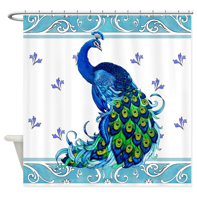 Peacock Swirl Shower Curtain By Everiris