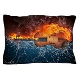Fire and water violin Pillow Cases
