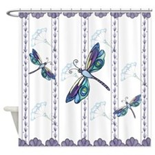 Decorative Peacock Dragonflies Shower Curtain