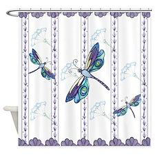 Decorative Peacock Dragonflies Shower Curtain