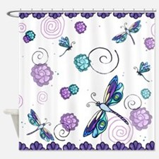 Decorative Swirls and Dragonflies Shower Curtain