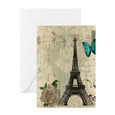 butterfly modern paris eiffel tower Greeting Cards