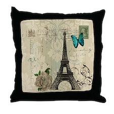 butterfly modern paris eiffel tower Throw Pillow