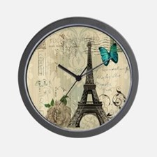 butterfly modern paris eiffel tower Wall Clock