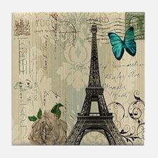 butterfly modern paris eiffel tower Tile Coaster