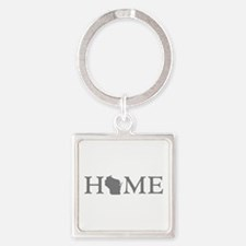 Wisconsin Home Square Keychain