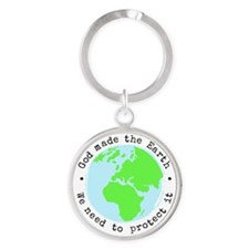 Protect God's Earth Round Keychain