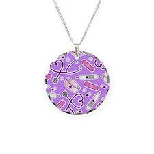 Cute Nurse Love Pattern Purple Necklace
