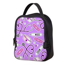 Cute Nurse Love Pattern Purple Neoprene Lunch Bag
