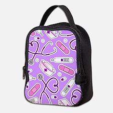 Cute Nurse Love Pattern Purple Neoprene Lunch Bag
