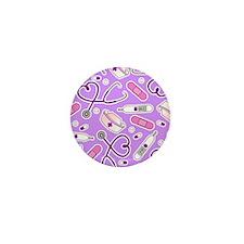 Cute Nurse Love Pattern Purple Mini Button (100 pa