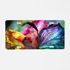 Rainbow Rose Flower Aluminum License Plate