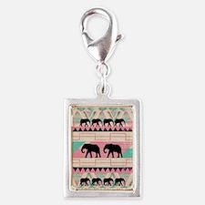 aztec elephant Silver Portrait Charm