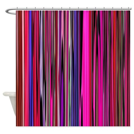 Red And Pink Stripes Shower Curtain By Zodiarts