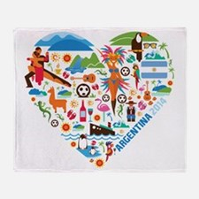 Argentina World Cup 2014 Heart Throw Blanket