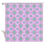 Lilac With Pink Flowers Shower Curtain