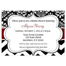 Black Red Damask Chevron Invite Invitations