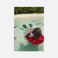 Man snorkeling in shallow water Rectangle Magnet