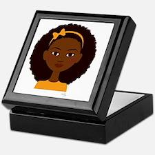 brown-eyed girl with big afro Keepsake Box