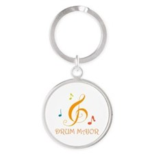 Drum Major Marching Band Round Keychain