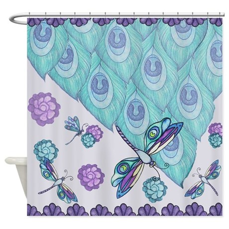 Plum Teal Peacock Design Shower Curtain By Everiris