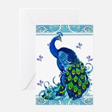 Peacock Swirl Greeting Cards