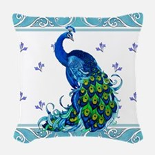 Peacock Swirl Woven Throw Pillow