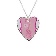 Pink Giraffe on Pink Flourish Necklace