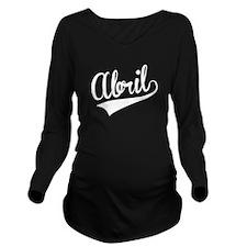Abril, Retro, Long Sleeve Maternity T-Shirt