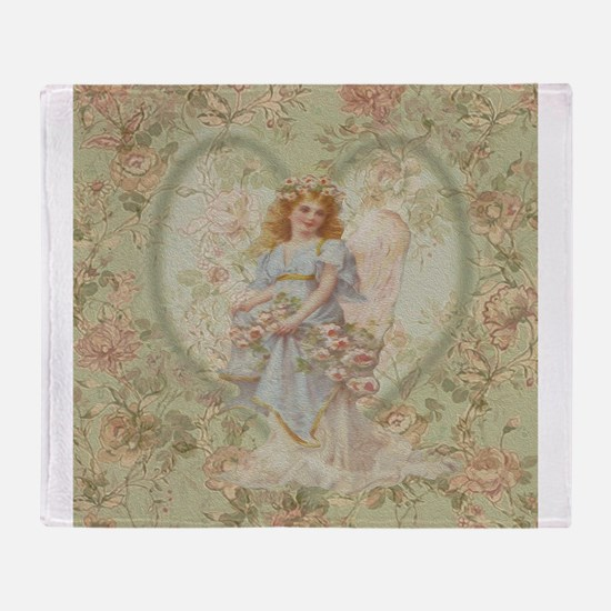 Angel Carrying Roses Throw Blanket