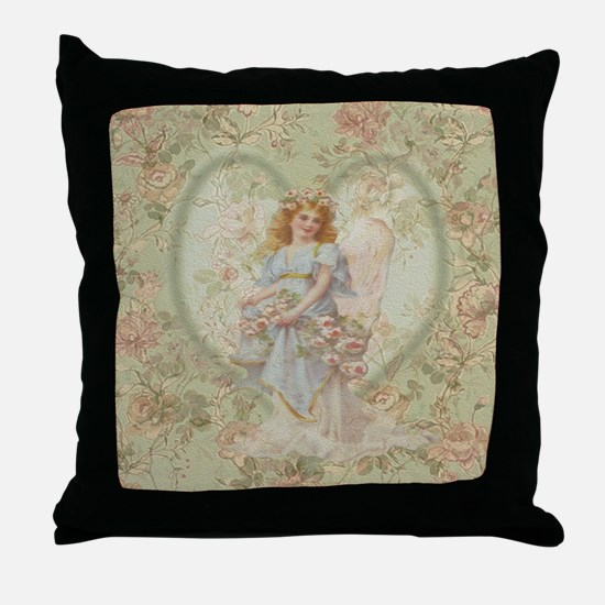 Angel Carrying Roses Throw Pillow