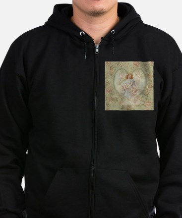 Angel Carrying Roses Zip Hoodie