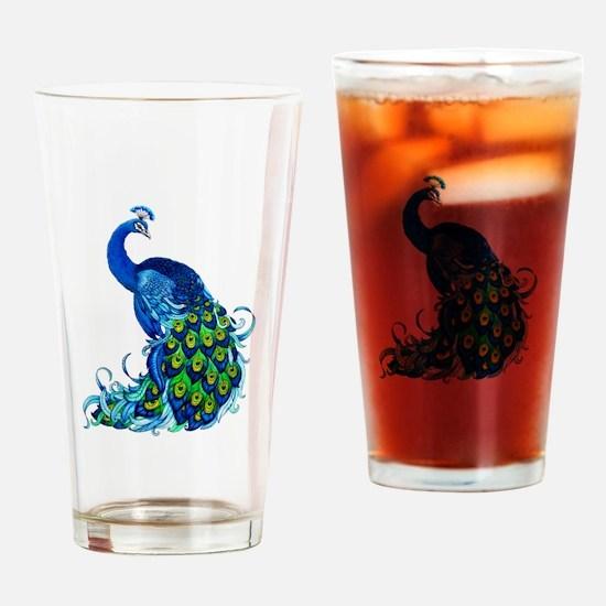 Beautiful Blue Peacock Drinking Glass